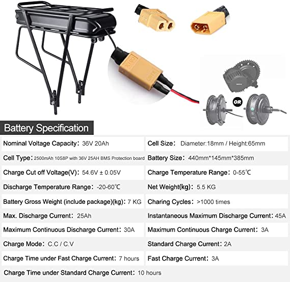 Ebike battery Rear Rack Battery Mount for 36v15.4ah 36v20ah 48v20ah batteries