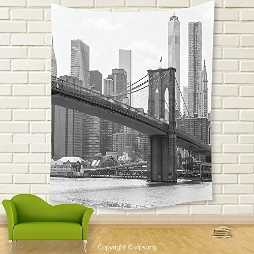 Vipsung House Decor Tapestry_Apartment Decor Photo Of The Brooklyn Bridge Over East River And Tall Buildings Skylines At The Back Decores Grey White_Wall Hanging For Bedroom Living Room Dorm (Halloween Dog Parade Brooklyn)