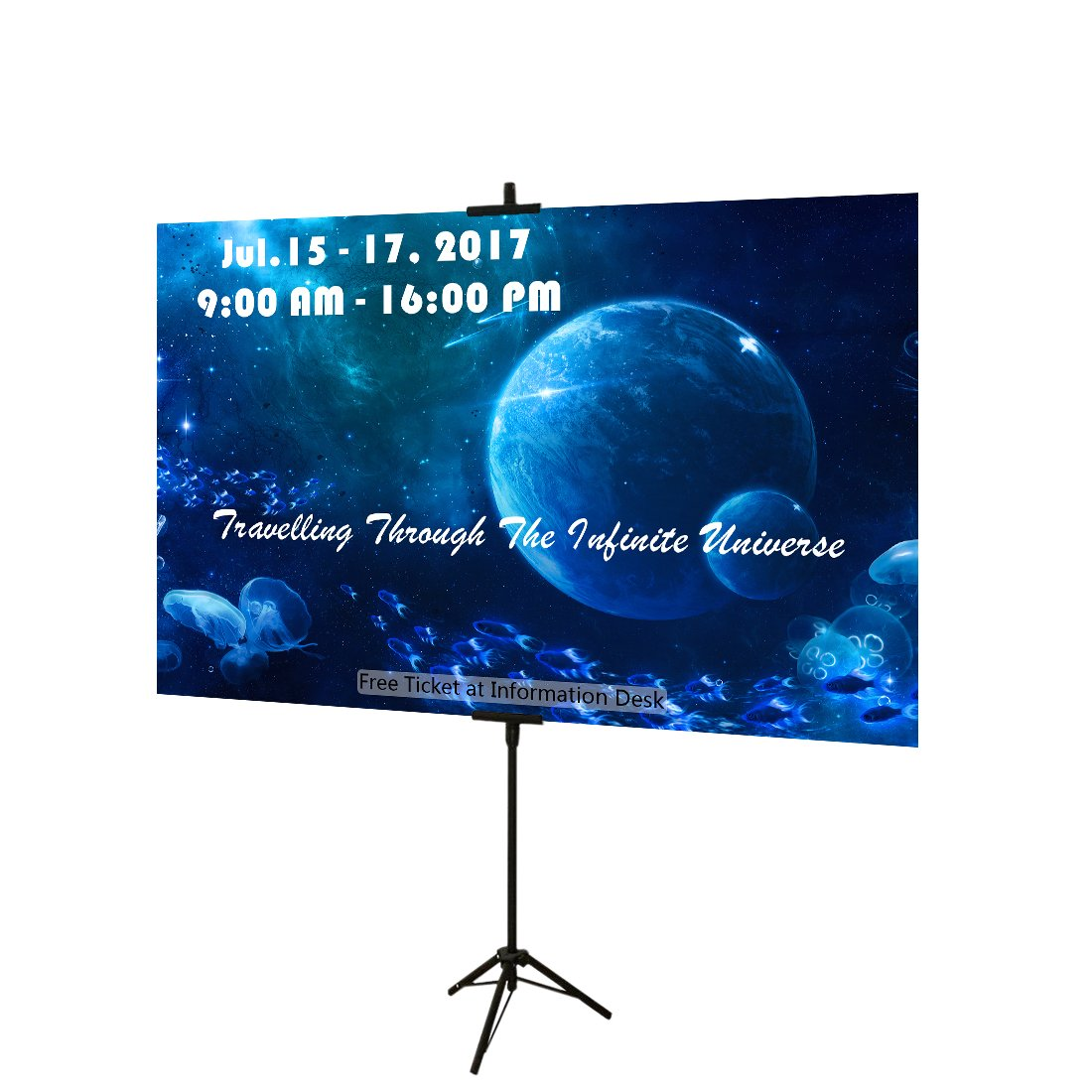 Haitian Telescopic Steel Poster Stand - Displaying Free Size Foam Board Sign Height up to 72 Inches, Double Sided Display Banner Stand Viewable from Both Directions