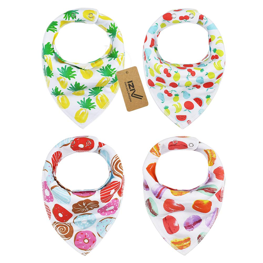 iZiv 4 PACK Baby Bandana Drool Bibs with Adjustable Snaps, Absorbent Soft Cotton Lining 0-2 Years (Color-13) Dlife FDTZN82-1