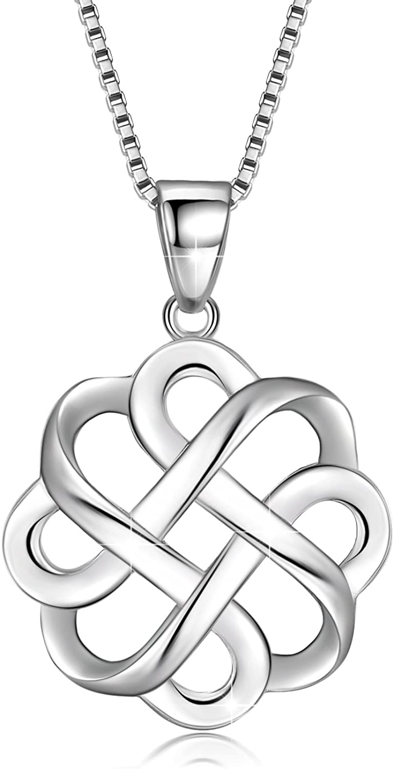 GDDX 925 Sterling Silver Good Luck Polished Celtic Knot Cross Pendant Necklace for Womens (Celtic Knot Necklace)