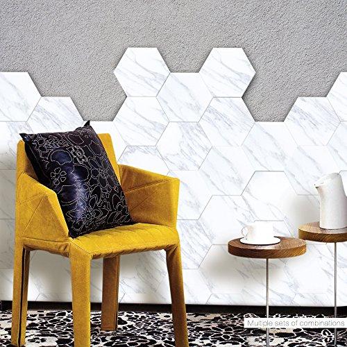 APSOONSELL Backsplash Tile Stickers Kitchen Bathroom Decoration, Vinyl Tiles Waterproof Peel and Stick Tile