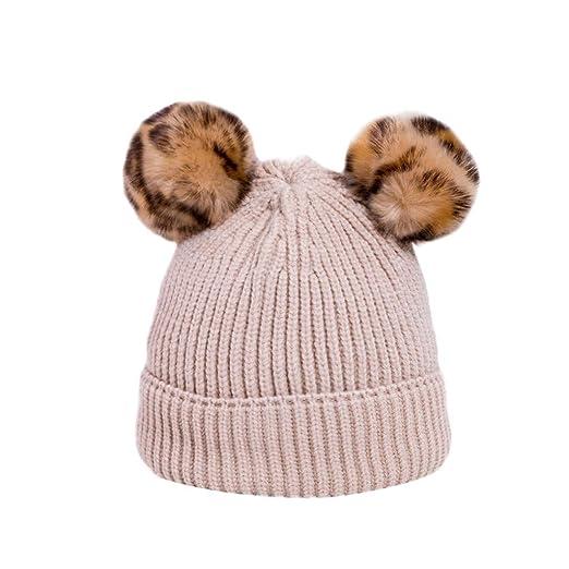 Smallrabbit Toddler Winter Hat Cute Leopard Print Pompom Baby Boys Girls  Knit Beanie Hats Warm Ski 1173cacd3d8