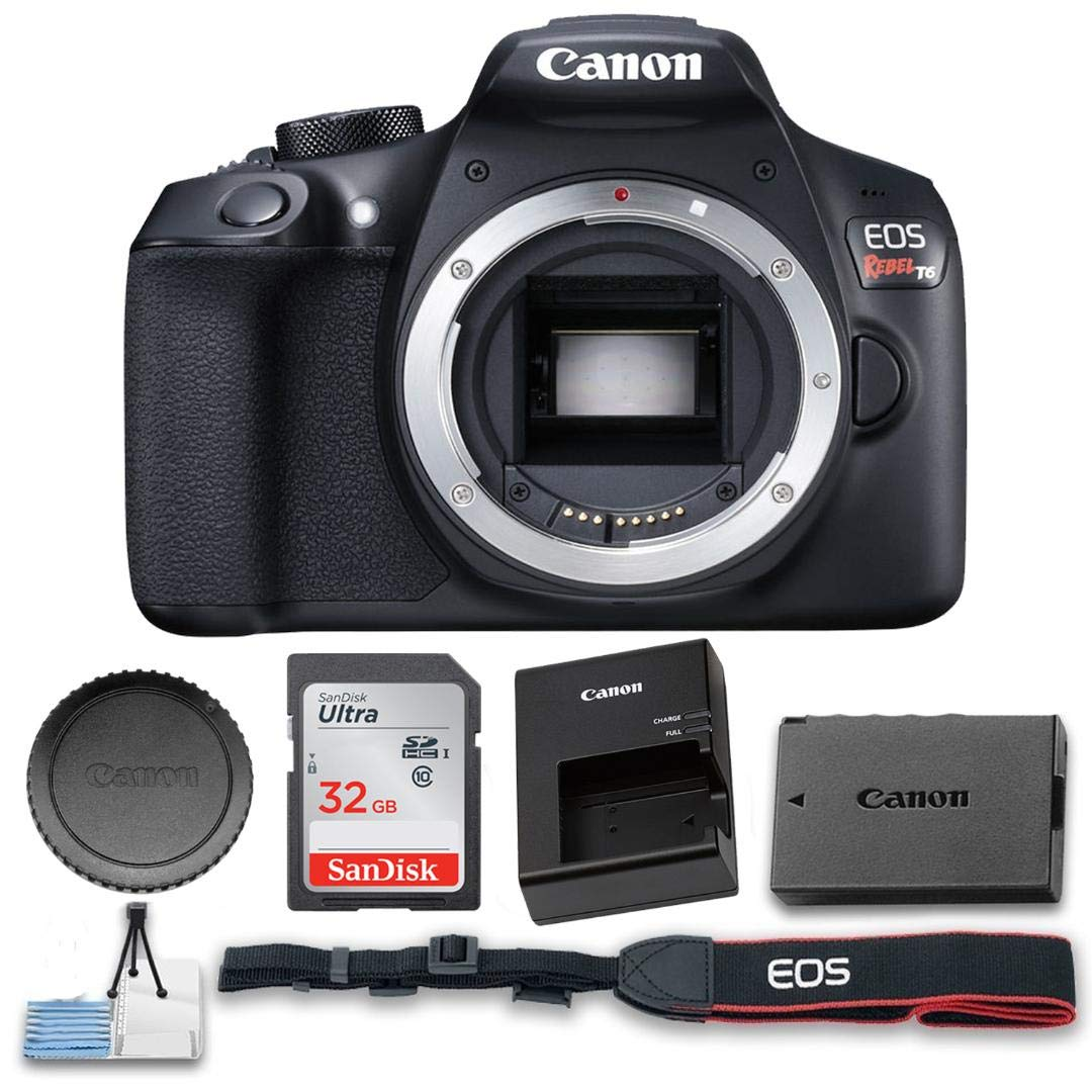 Canon Eos Rebel T6 Digital Slr Camera Body Only Wi Fi Enabled High Speed 32gb Memory Card And Cleaning Kit