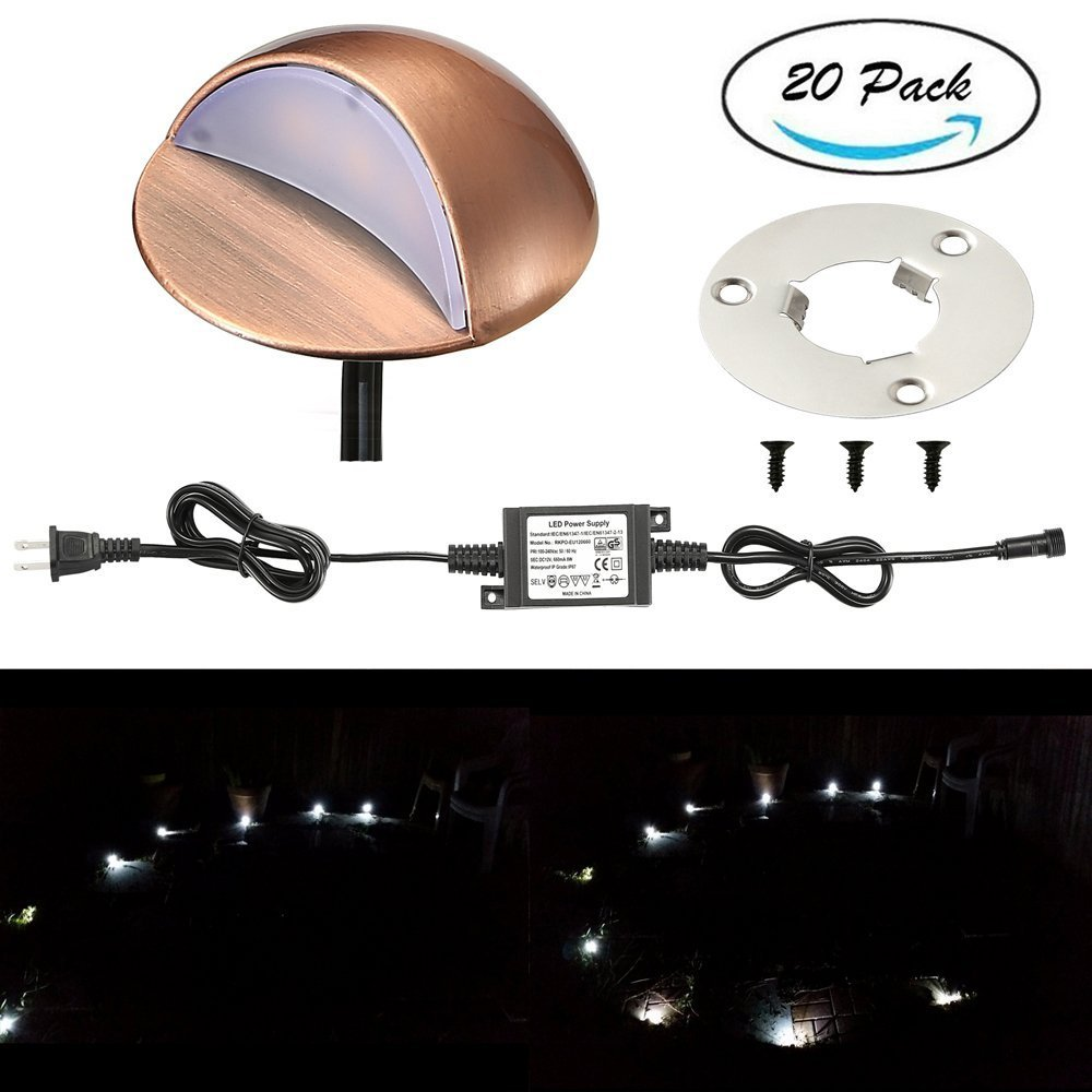 LED Deck Stair Lights Kit, Sumaote 20 Pack Low Voltage Waterproof IP65 Φ1.97'' LED Step Light Wood Recessed Cold White LED Lighting Outdoor Garden Yard Patio Stair Landscape Decoration Lamp, Bronze