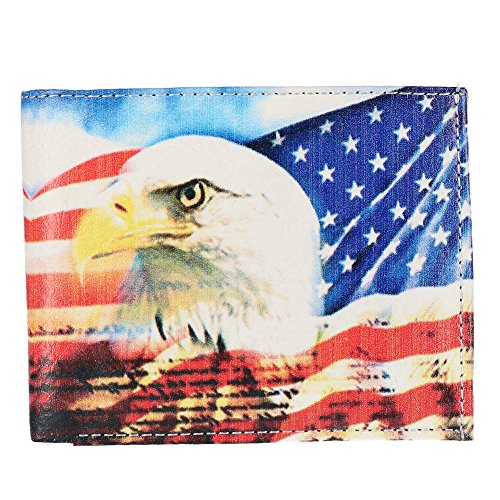 CTM Men's Vegan Leather Eagle American Flag Print Bifold Wallet, Eagle