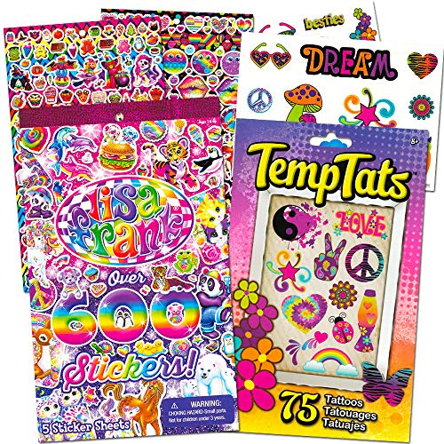 Lisa Frank Stickers Party Supplies Pack -- 600 Lisa Frank Stickers and 75 Colorful Temporary Tattoos (Party Favors)