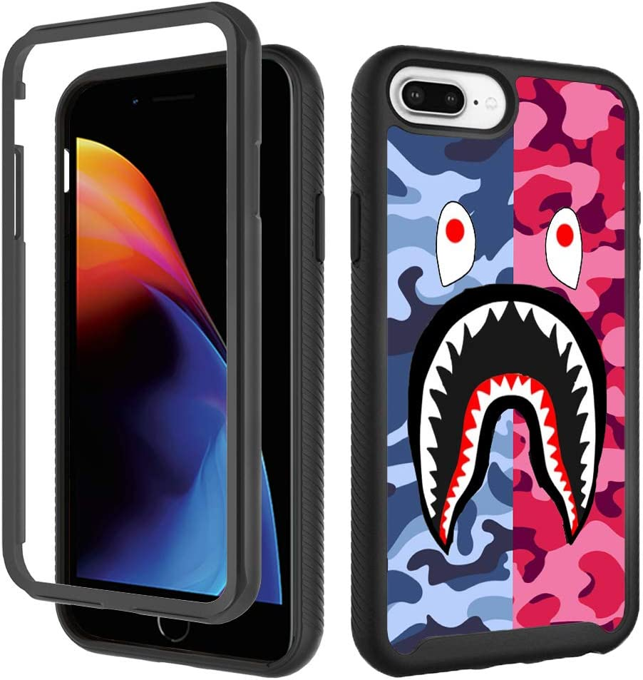 Case for iPhone 6 Plus 6s Plus, iPhone 8 Plus Cool Camo Case, iPhone 7 Plus Cases for Boys Girls Design Shockproof Rugged Dual Layer Bumper Full-Body Protective Cover 5.5 inch - Pink Blue Shark