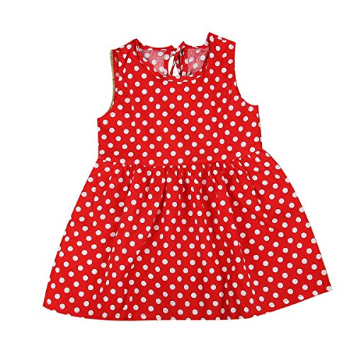 puseky Kids Baby Girl One Piece Sleeveless Summer Sundress Casual Party Dress (5-6T, Red Bottom & Polka Dot)