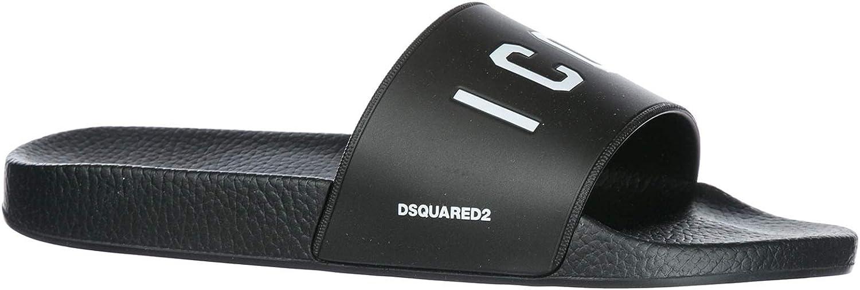 DSQUARED2 Men icon Slides Nero Bianco