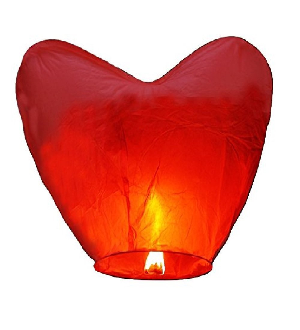 Porpora Sky Flying lanterns Red Heart (50) Pack - Ready to Use and Eco Friendly - 100% Biodegradable - Beautiful Sky Lantern for Special Occasions, Weddings, Chinese Festiva.