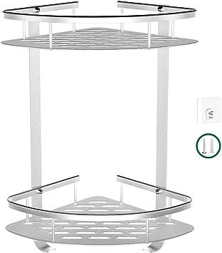 Amazon Com Bathroom Corner Shelf No Drilling 2 Tier Corner Shower Caddy Durable Aluminum Shower Rack 2 Ways Corner Shower Shelf Shower Organizer With Adhesive Hooks Kitchen Storage Basket Corner Storage Hold Home Improvement