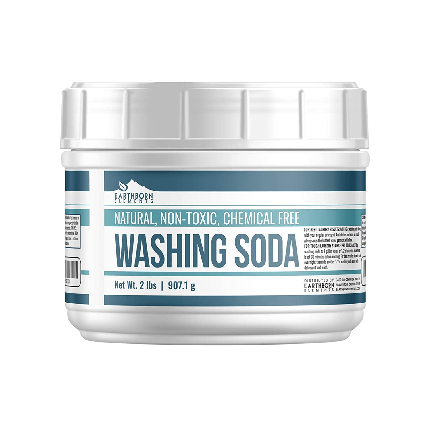 All-Natural Washing Soda (2 lb (32 oz)) by Earthborn Elements, Resealable Tub with Scoop, Soda Ash, Sodium Carbonate, Laundry Booster, Non-Toxic, Hypoallergenic
