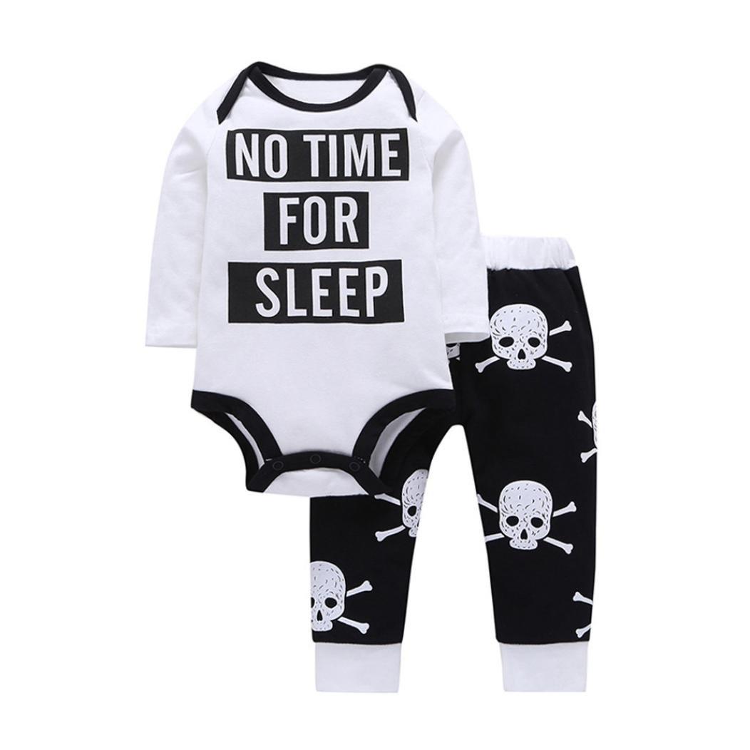 erthome 2 stücke Infant Baby Kleidung Set Brief Strampler + Schädel Knochen Hosen