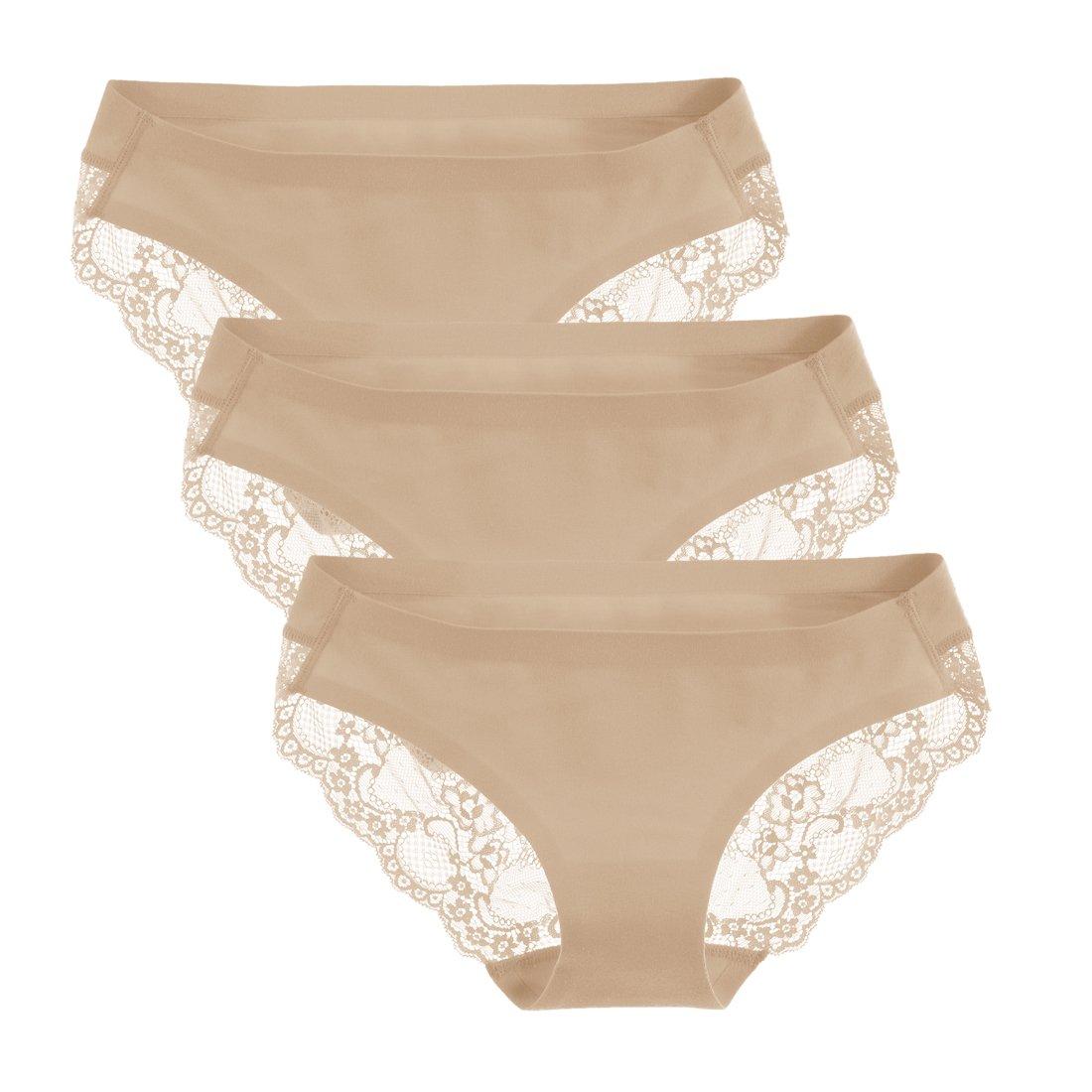 Liqqy Women's 3 Pack Low Rise Cotton Lace Coverage Bikini Panties Underwear (Small, Beige)