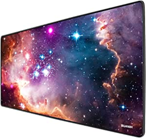 """BUANIIH Galaxy Gaming Mouse Pad XL, Extended Large Mouse Mat Desk Pad, Stitched Edges Mousepad, Long Non-Slip Rubber Base Mice Pads (27.6""""x11.8""""x0.12"""")"""