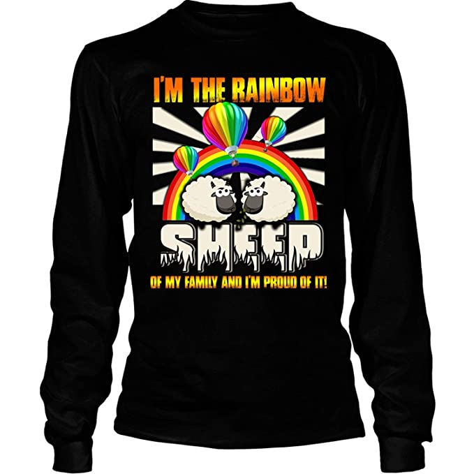 b4653a93 Amazon.com: and I'm Proud of It Long Sleeve Tees, I'm The Rainbow Sheep of  My Family T Shirt: Clothing