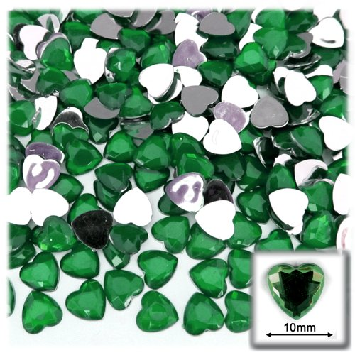 10 Mm Emerald Green - The Crafts Outlet 144-Piece Flat Back Heart Rhinestones, 10mm, Emerald Green