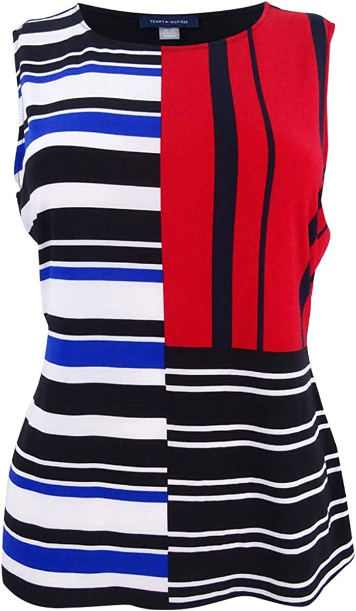 Tommy Hilfiger Womens Patchwork-Print Top