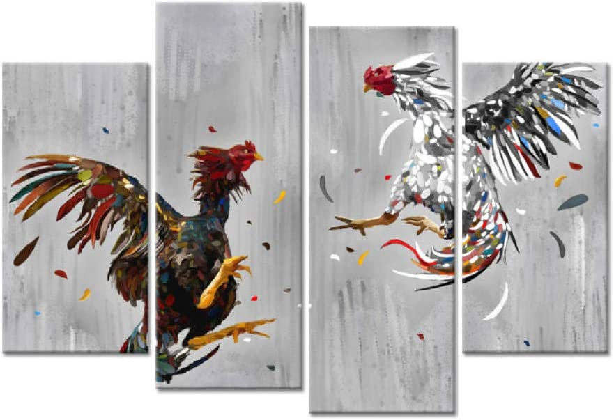 Amazon Com Qidingusa Animal 4 Pieces Canvas Wall Art Cock Fighting Picture Painting Rooster Art Print Rustic Chicken Country Kitchen Home Decor 30x60x2 30x80cmx2 Unframed Cock Fighting Wall Art Everything Else
