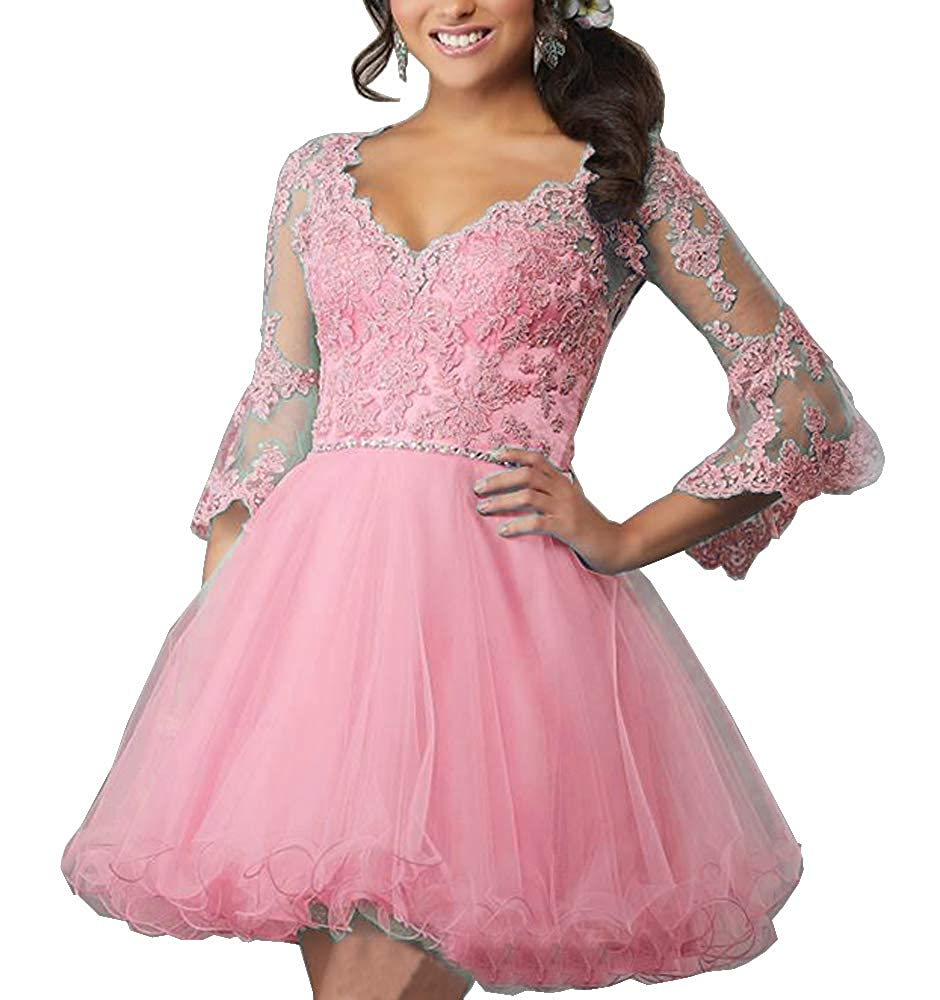 Pink Sweet Bridal Women's Lace Appliques Beaded Homecoming Dresses Half Sleeve Short Graduation Party Gowns