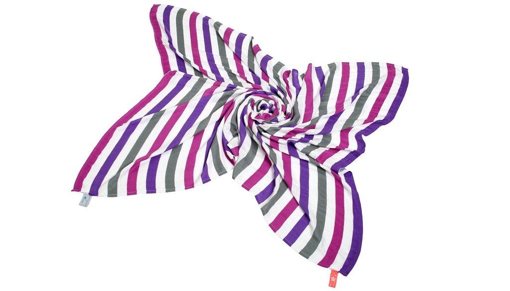 Cuski Great Swandoodle Bamboo Muslin Blanket XL (Happy Stripes Purple) Cuski Baby Limited 2016