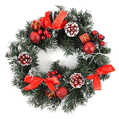 WISREMT Christmas Wreath with LED String Light, Indoor Outdoor Porch Door Window Hanging Garland with Bowknot, Bells, Berries, Gift Boxes for Christmas Party Decor