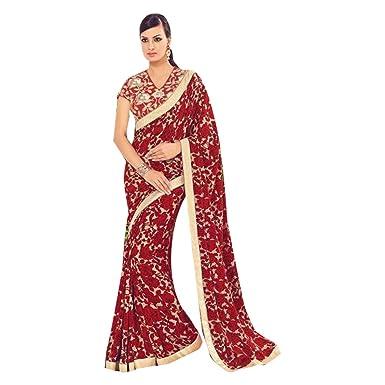 Amazon.com: Diseñador Bollywood Nupcial Sari Sari para mujer ...