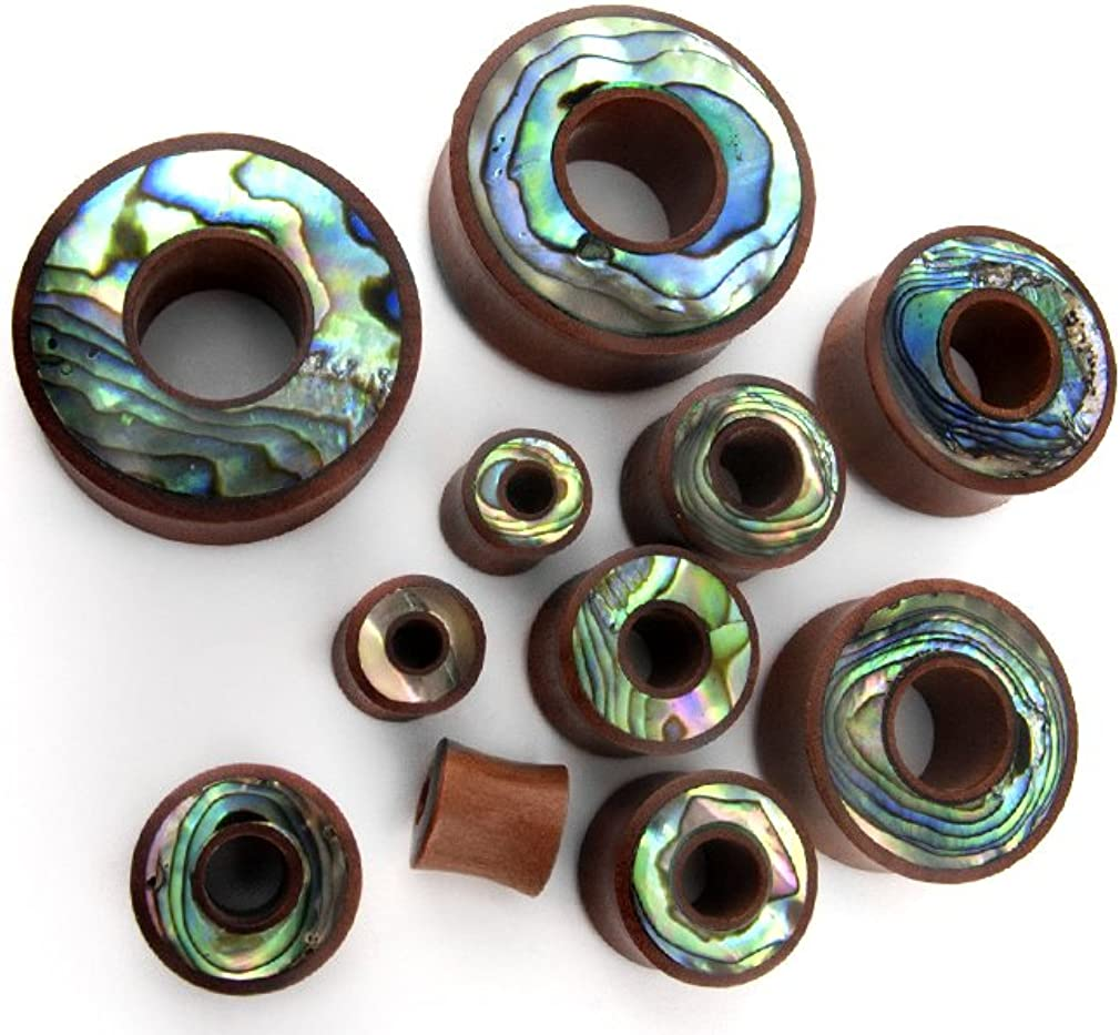 Saba Wood Tunnel Plugs With Abalone Shell Inlay Pair of 1 /& 1//4 Inch 32mm