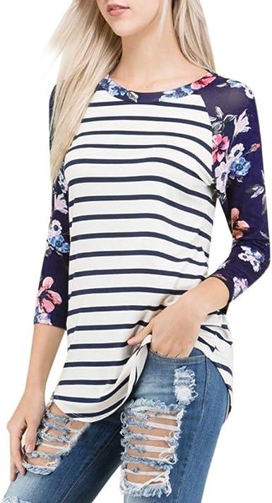 FAMILIZO Camisetas para Mujer, Moda Mujeres Camiseta Rayado ...