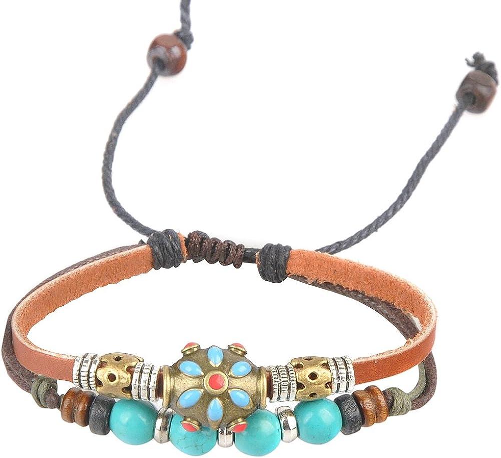 Antigua Tribu de la Mujer Ajustable Piel de cáñamo Pulsera de Perlas de Color Turquesa