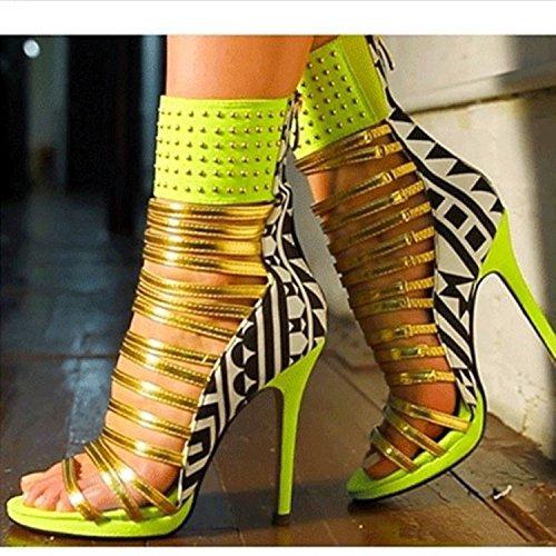 Sandalias Super Size zapatos de tacón alto personalizados Green
