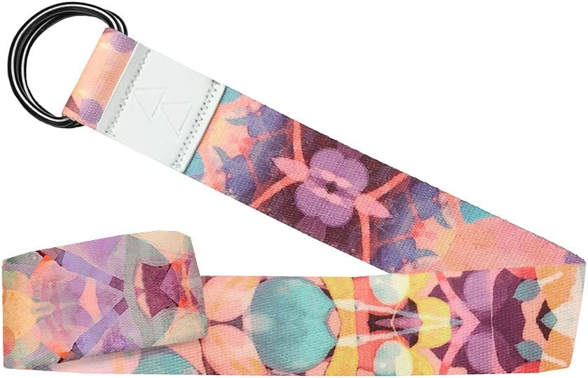 Studio Quality Kaleidoscope THE YOGA STRAP Adjustable Yoga Design Lab 240cm Long Eco Printed Luxurious Safely Stretch Further and Hold Longer Extra long Super soft