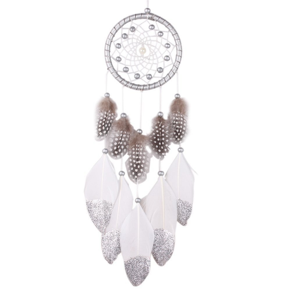 Aplus SHOP White Dream Catcher Large Handmade Circular Knitting Net Hanging Feathers Beads Ornaments for Girls Boys Bedroom Living Room Garden Wall Decoration Accessories