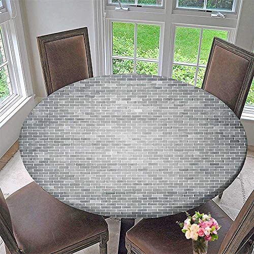 Mikihome Modern Simple Round Tablecloth Grunge Brick Wall Featured Urban Life Construction Architecture Artisan Photo Print Grey Decoration Washable 59