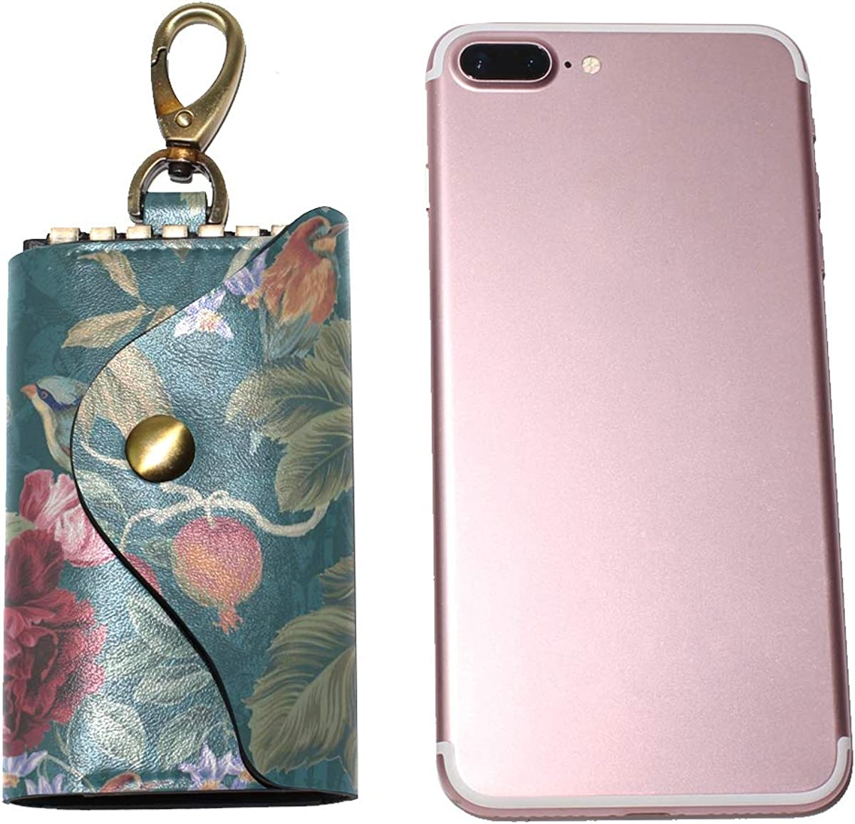 KEAKIA Tree Of Life Birds Floral Leather Key Case Wallets Tri-fold Key Holder Keychains with 6 Hooks 2 Slot Snap Closure for Men Women