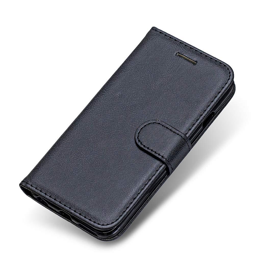 Coque LG K10 2018, The Grafu® Etui en Cuir Flip Portefeuille Housse avec Emplacements Carte, Design Classique PU Stand Coque pour LG K10 2018, Noir