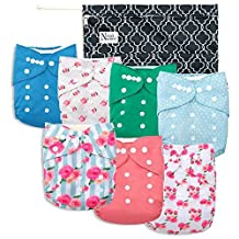 Nora's Nursery - Peonies Baby Cloth Pocket Diapers 7 Pack, 7 Bamboo Inserts, & Wet Bag