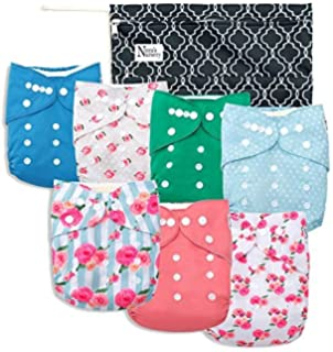 Baby Cloth Pocket Diapers 7 Pack, 7 Bamboo Inserts, 1 Wet Bag by Noras