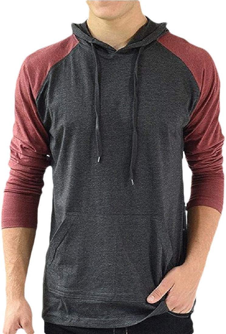 Beloved Mens Casual Hoodie Shirts Slim Fit Long Sleeve Color Block Lightweight T-Shirt Tops