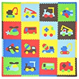 Tadpoles Soft EVA Foam 16pc Playmat Set, Transport, Multi/Primary, 50