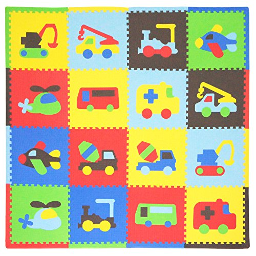 - Tadpoles Baby Play Mat, Kid's Puzzle Exercise Play Mat - Soft EVA Foam Interlocking Floor Tiles, Cushioned Children's Play Mat, 16pc, Transport, Multi/Primary, 50x50