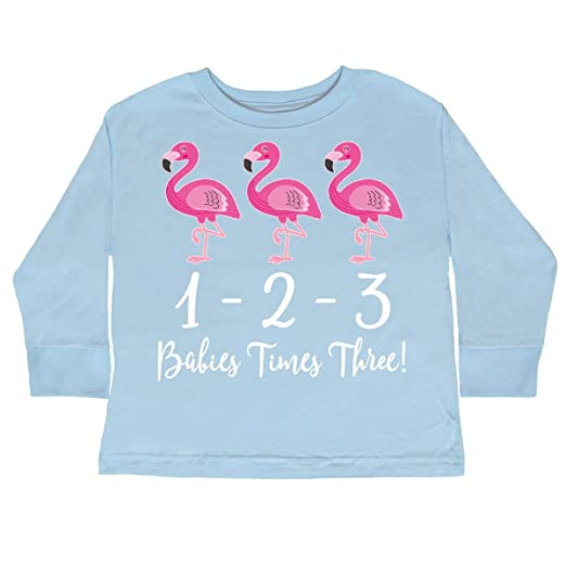 9748e91c5 Amazon.com: inktastic - Triplets Flamingo Baby Girls Toddler Long Sleeve T- Shirt 2bff3: Clothing