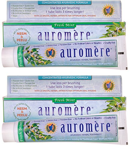Auromere Fresh Mint Ayurvedic Herbal Toothpaste With 23 Special Herbal Extracts For Optimum Oral Hygiene, 4.16 oz. (Pack of (Ayurvedic Herbal Toothpaste)