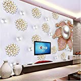 350cmX245cm Custom large fresco noble luxury pearl flower 3D stereo TV backdrop nonwovens super green wallpaper papel de parede,350cmX245cm
