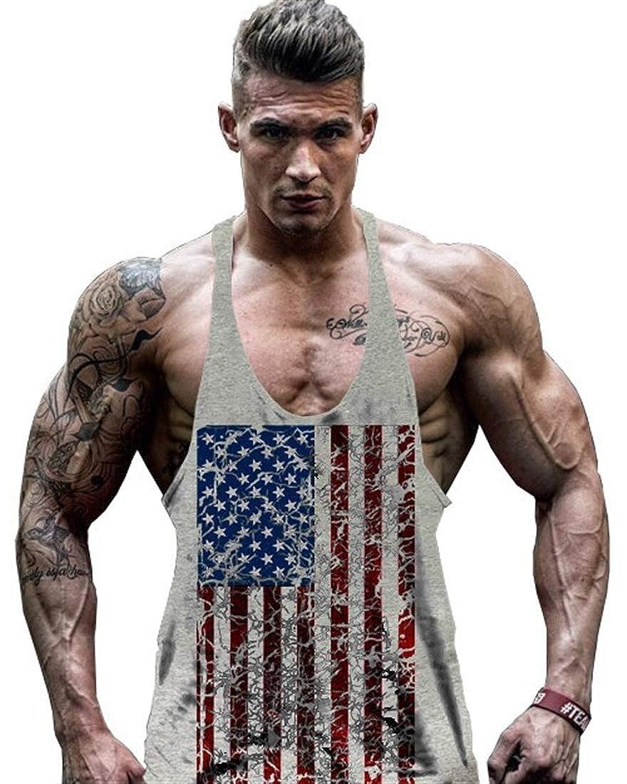 COWBI Herren Gym Muskelshirt Nationalflagge Fitness Bodybuilding Stringer Tr/ägershirt Tank Top