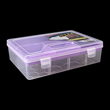 HOKIPOu0026reg; Small Plastic Storage Box With Compartments U0026 Slide Out Tray,  ...