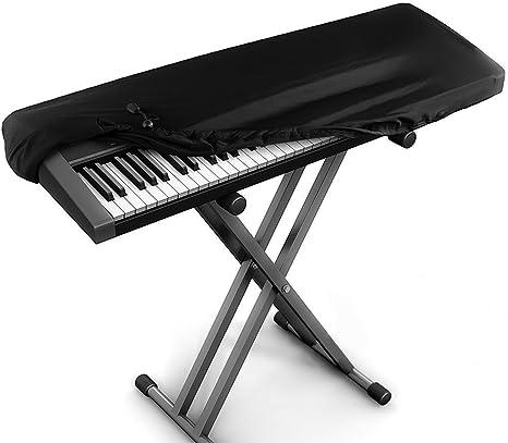 JamBer Cubierta para el teclado de piano tapa de teclado de piano para teclados de 88 teclas, Negro