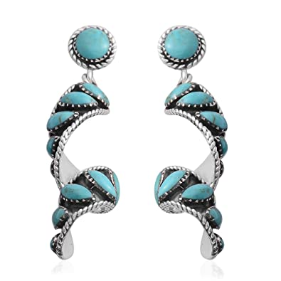 b44dd3d53 Amazon.com: 925 Sterling Silver Genuine Turquoise Rhodium Plated Southwest  Jewelry Swirl Drop Dangle Earrings for Women: Jewelry