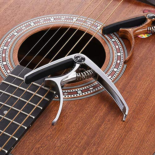 HUNDUN Guitar Capo Metal Capo for Acoustic and Electric Guitars ,Ukulele,Mandolin,Banjo, Classical Guitar Accessories (with Pick Holder and 5Picks) (Silver)